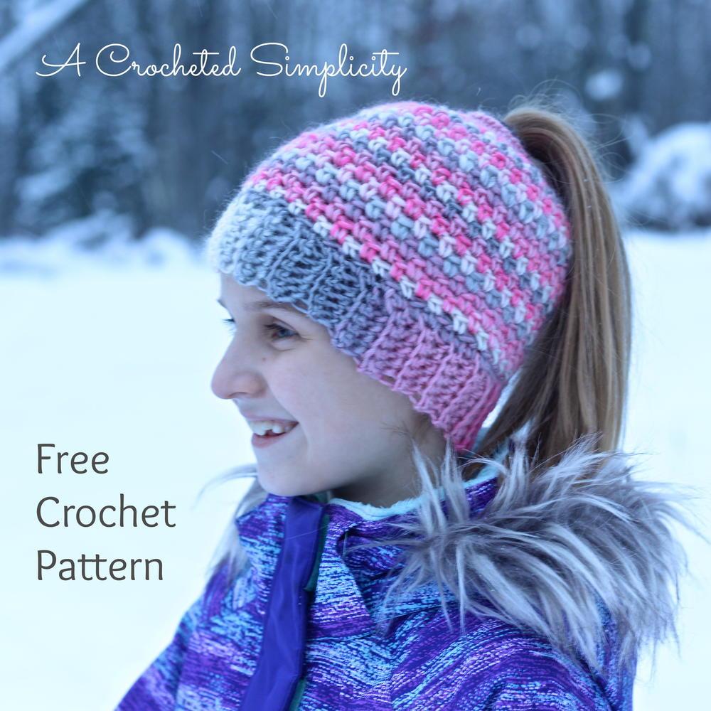 Linen Stitch Messy Bun Hat Allfreecrochetcom
