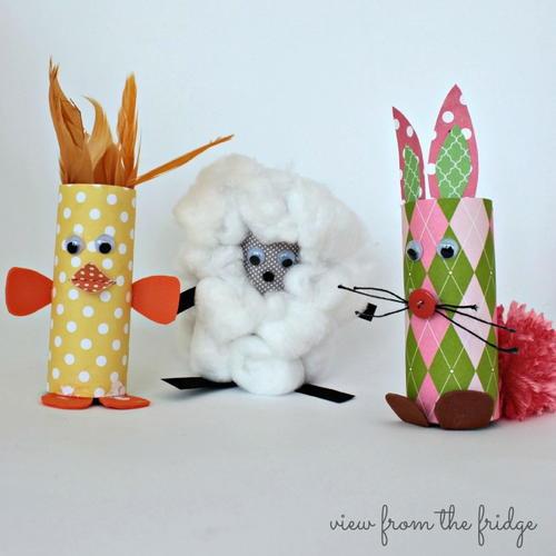 Baby animal paper roll farm craft for Farm animal crafts for preschool