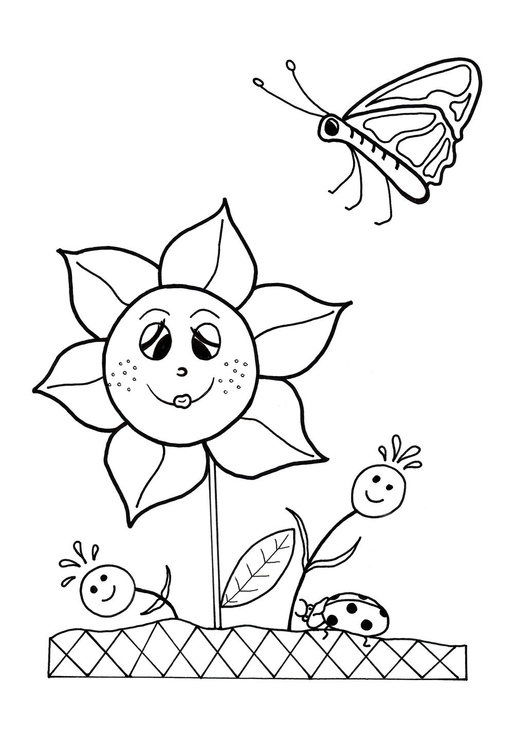 Sprint coloring pages ~ Dancing Flowers Spring Coloring Sheet | AllFreeKidsCrafts.com