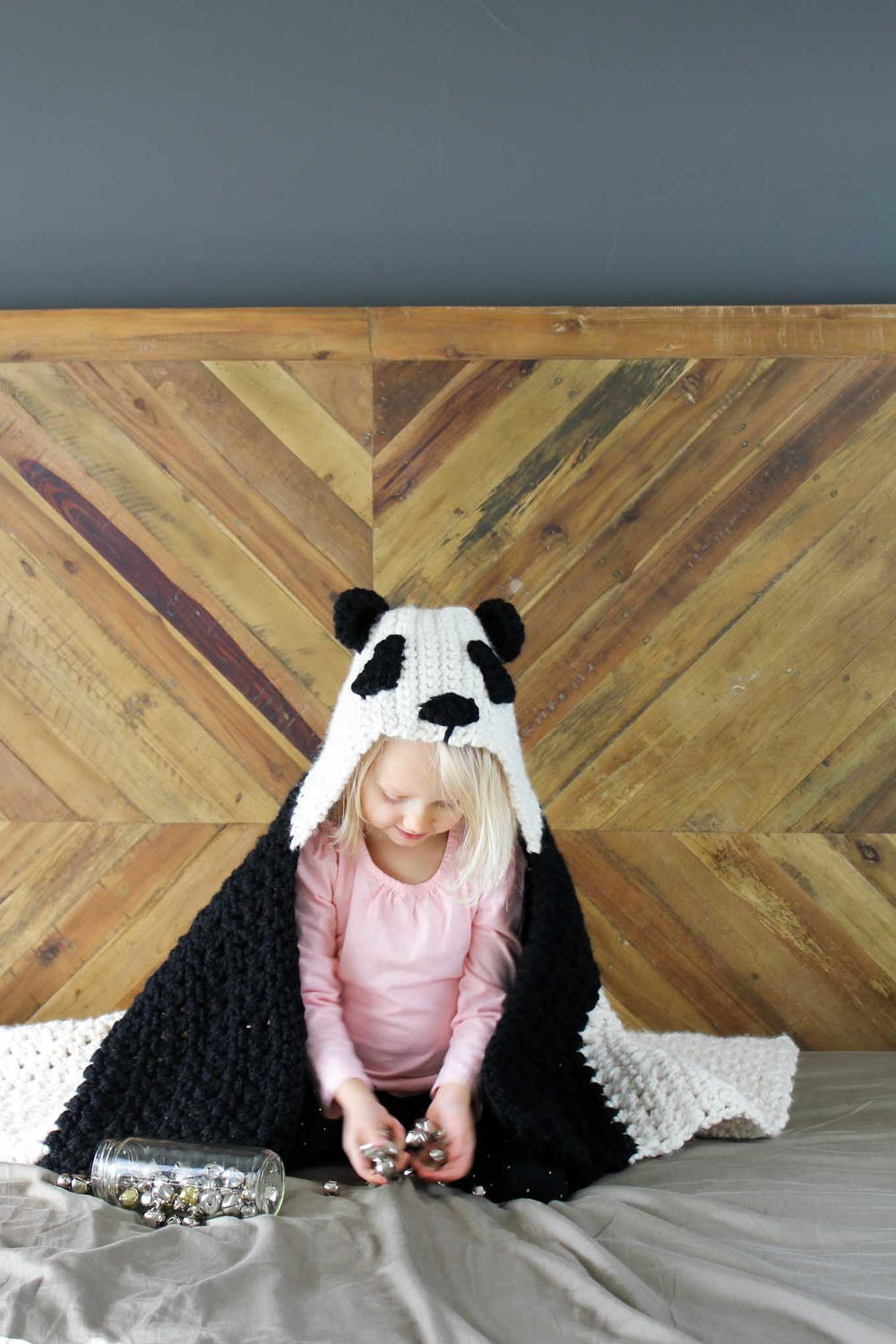 Panda Bear Hug Hooded Afghan