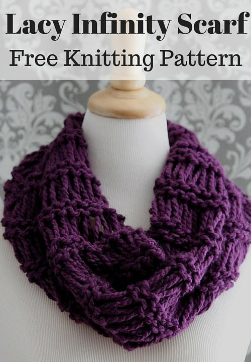 Free Knitting Patterns For Scarves And Cowls : Lacy Plum Infinity Scarf AllFreeKnitting.com