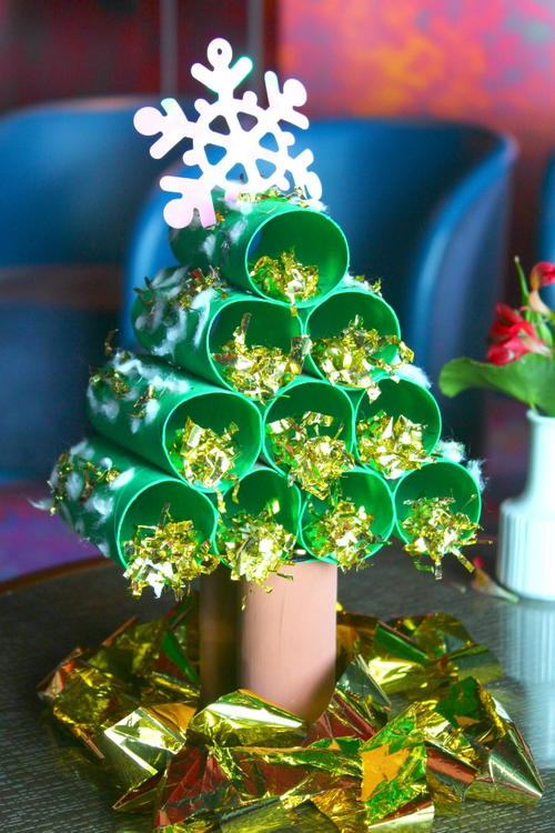Paper tube christmas tree allfreeholidaycrafts