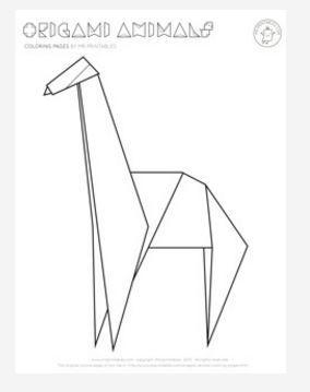 origami giraffe coloring page favecraftscom