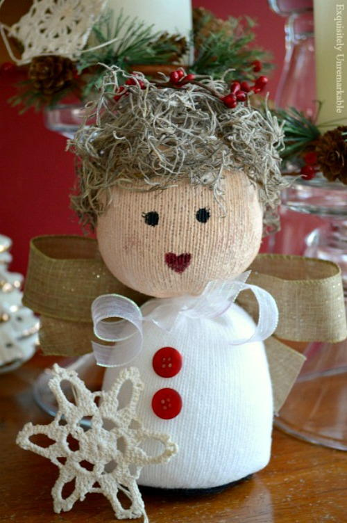 Sock Angel Doll AllFreeChristmasCrafts