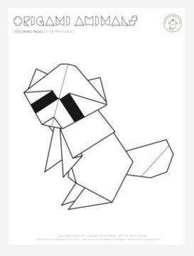 Origami Raccoon Coloring Page