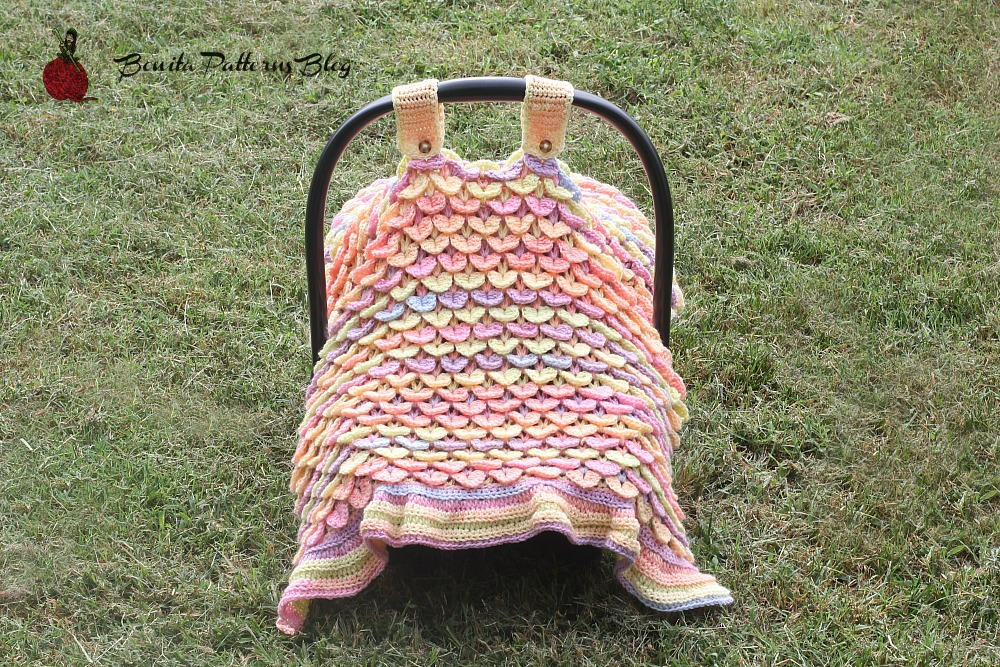 Free Crochet Pattern For Baby Car Seat Cover : Crocodile Stitch Car Seat Cover AllFreeCrochet.com
