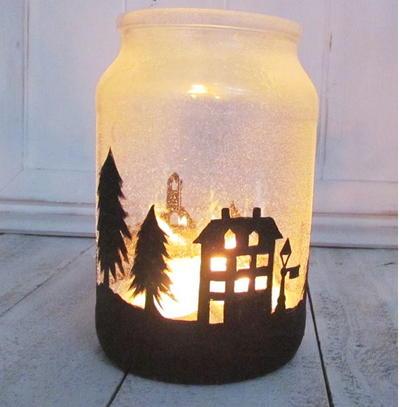 Snowy Pine Cone Homemade Luminaries