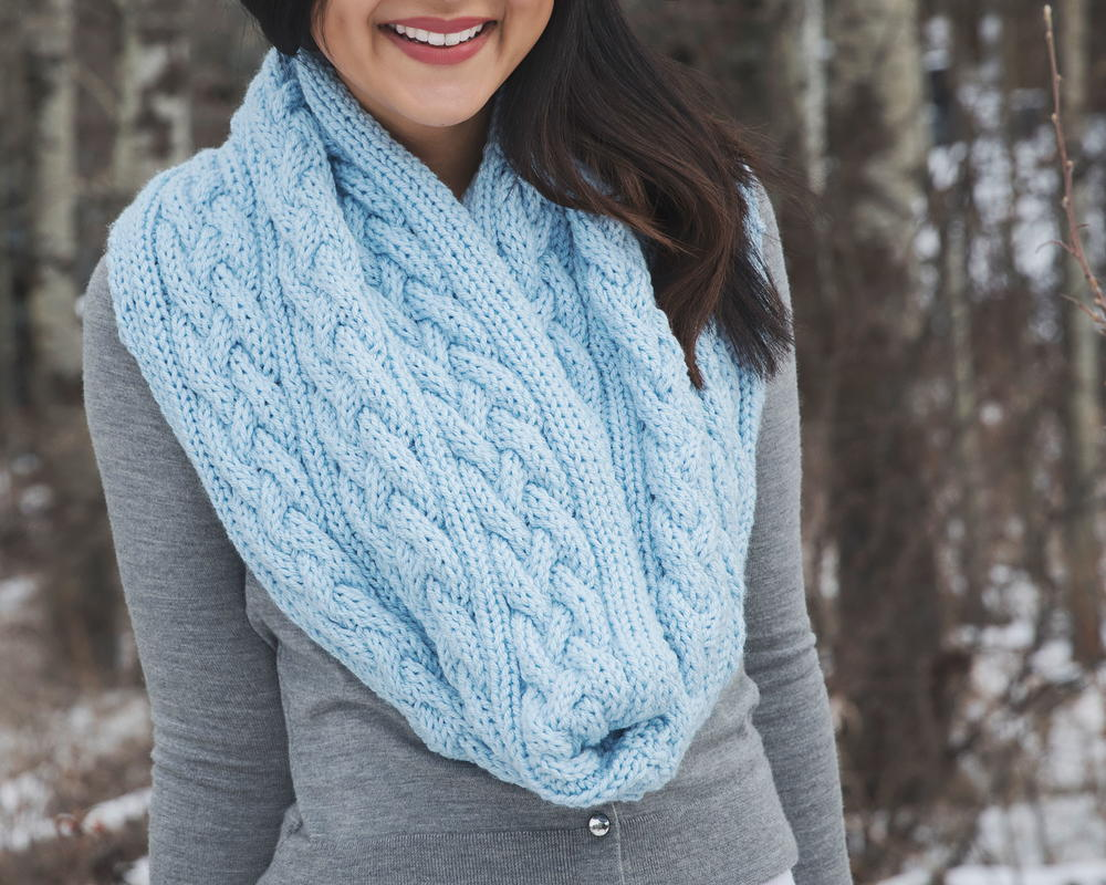 Braided Cables Winter Infinity Scarf Allfreeknitting Com