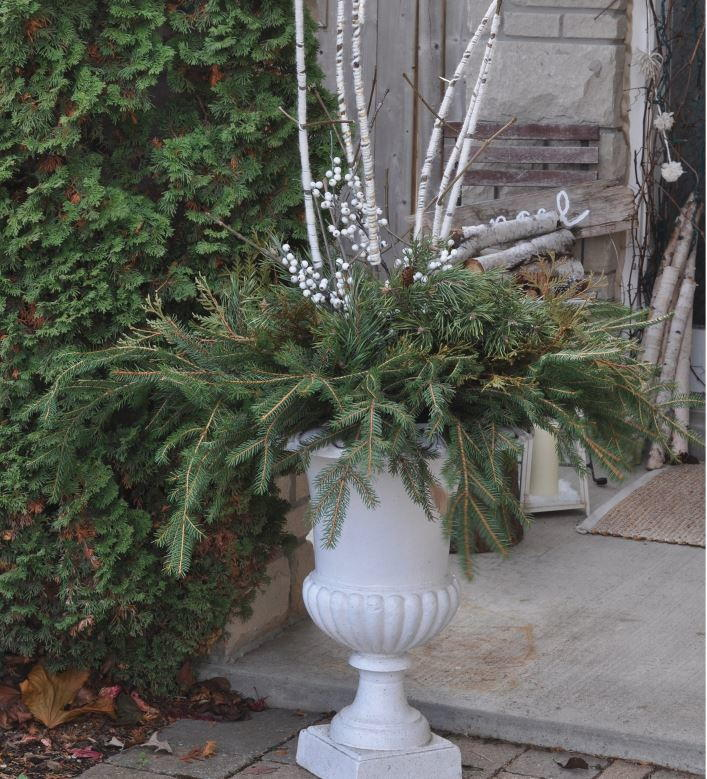 Faux Birch Outdoor Christmas Arrangement
