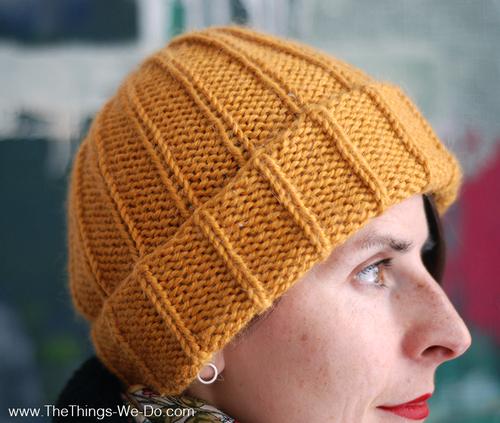Knitting Pattern Basic Beanie : Basic Mustard Beanie AllFreeKnitting.com