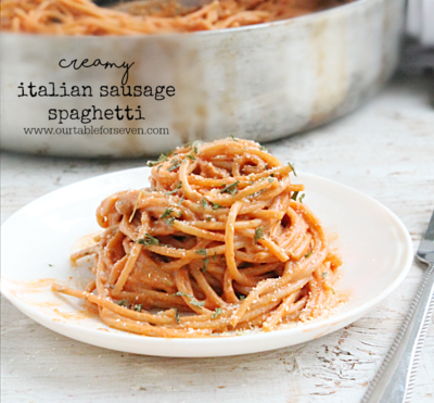 Creamy Italian Sausage Spaghetti | RecipeLion.com
