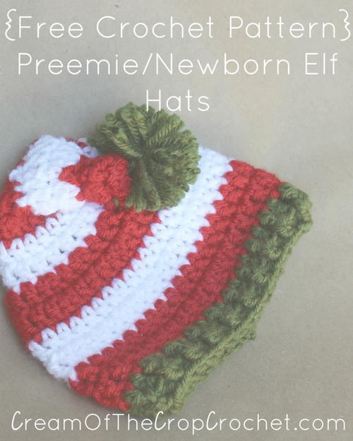Child Elf Hat Crochet Pattern : Preemie/Newborn Elf Hat AllFreeCrochet.com