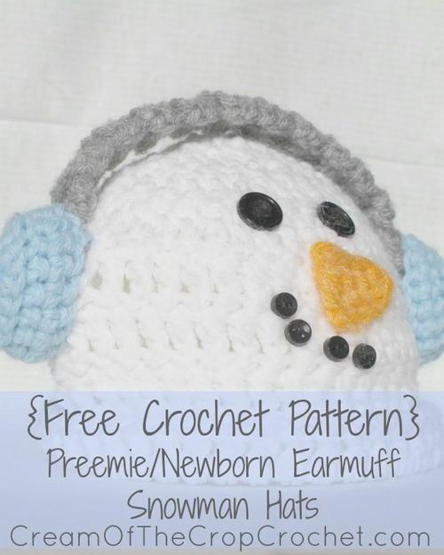 Preemie/Newborn Earmuff Snowman Hat AllFreeCrochet.com
