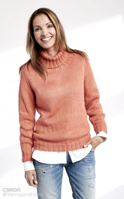 Persimmon Ribbed Turtleneck AllFreeKnitting.com