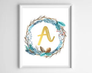 Winter Wreath Initial Printables
