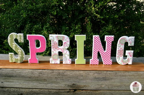Wooden block diy spring decor for Wooden letters for crafts