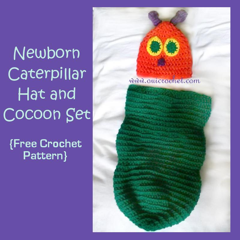 Newborn Caterpillar Hat and Cocoon AllFreeCrochet.com