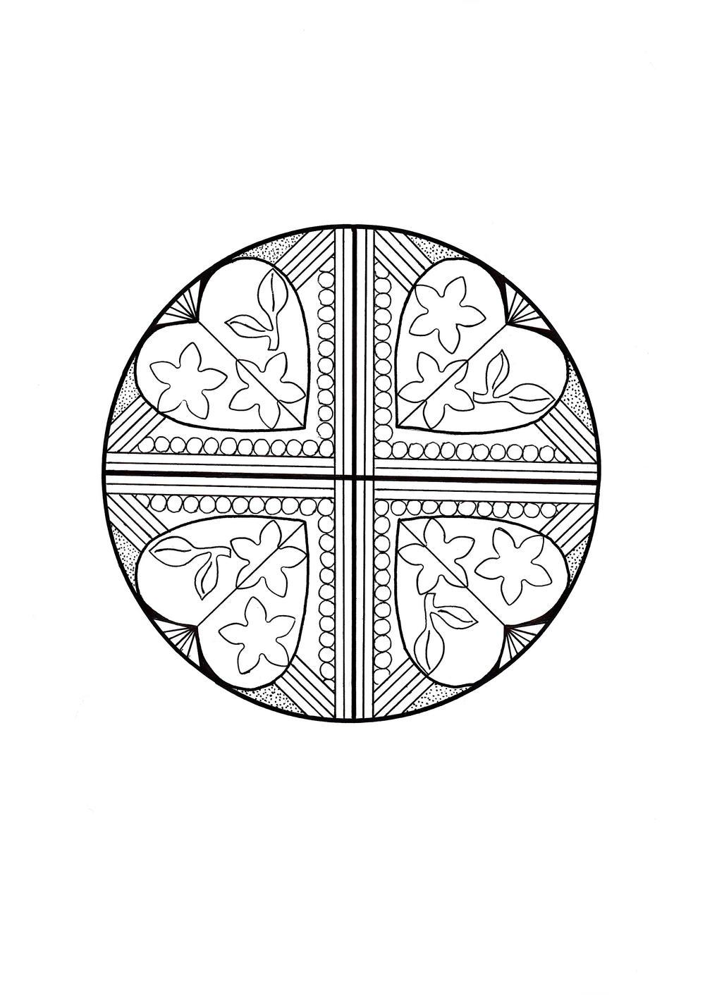 heart quartet mandala coloring page favecraftscom pile