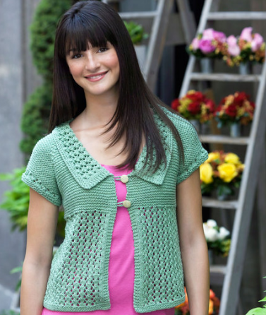 Knitting Pattern For Lace Garter : Garter Lace Cardigan AllFreeKnitting.com