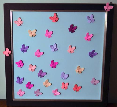 Soaring origami butterfly wall art for How to make paper butterflies for wall
