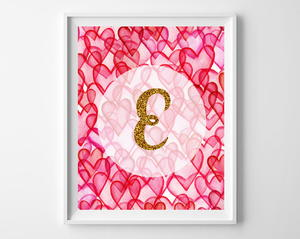 Valentine's Day Free Printables (Hearts & Gold Glitter Initials)