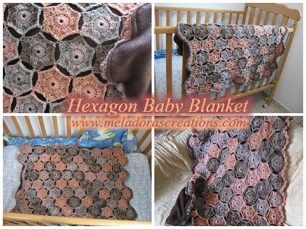 f01077096 Colorful Hexagon Crochet Baby Blanket