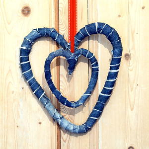 Gorgeous Upcycled Jeans Heart Wreath