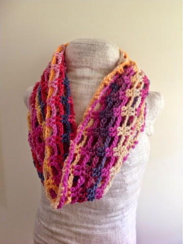 All Free Crochet Infinity Scarf Pattern : Colors Of Sunset Chain Infinity Scarf AllFreeCrochet.com