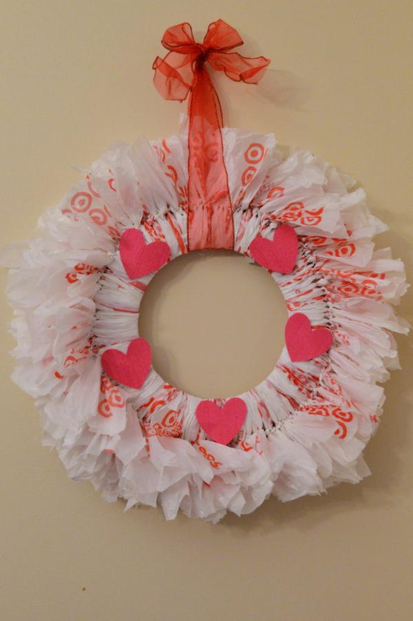 Plastic Bag Valentine's Day Wreath