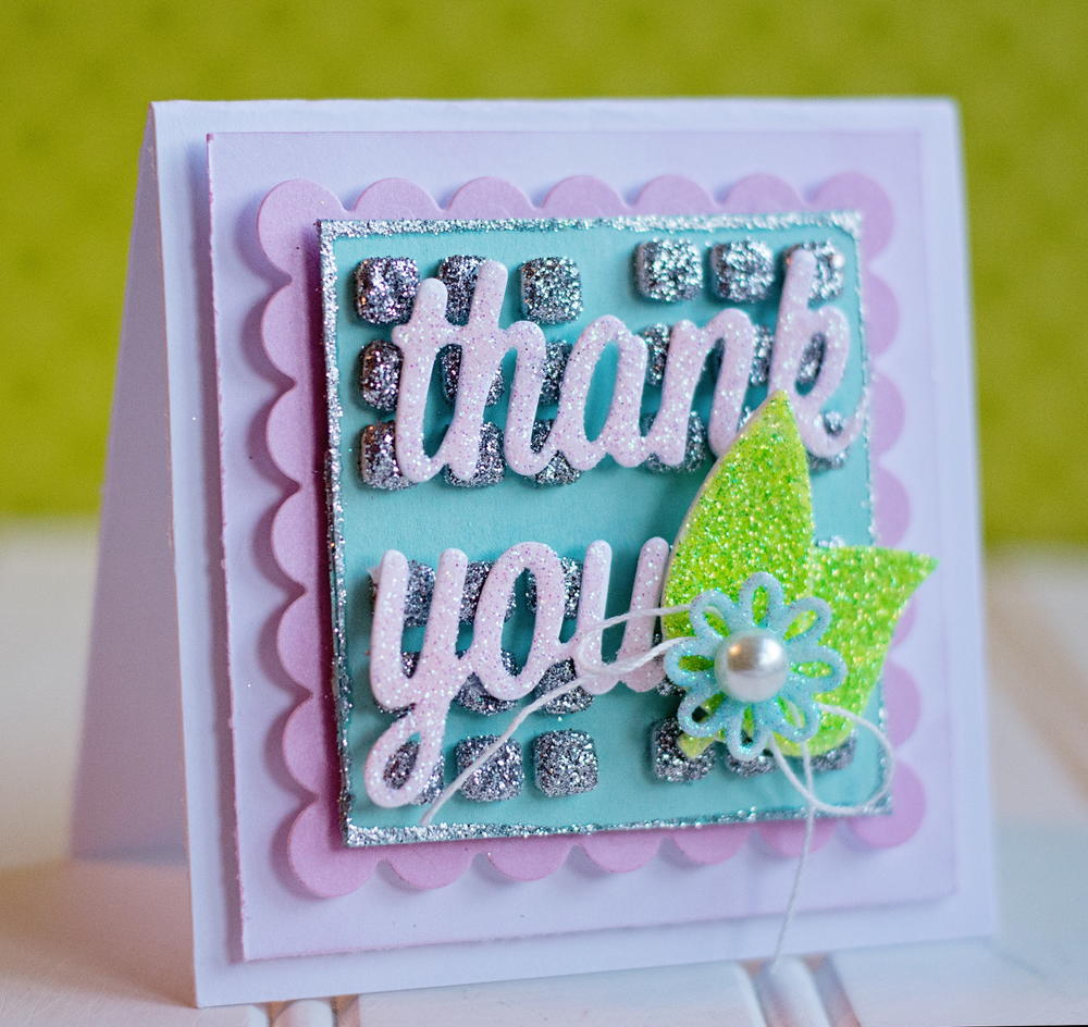 glittery thank you card  allfreepapercrafts