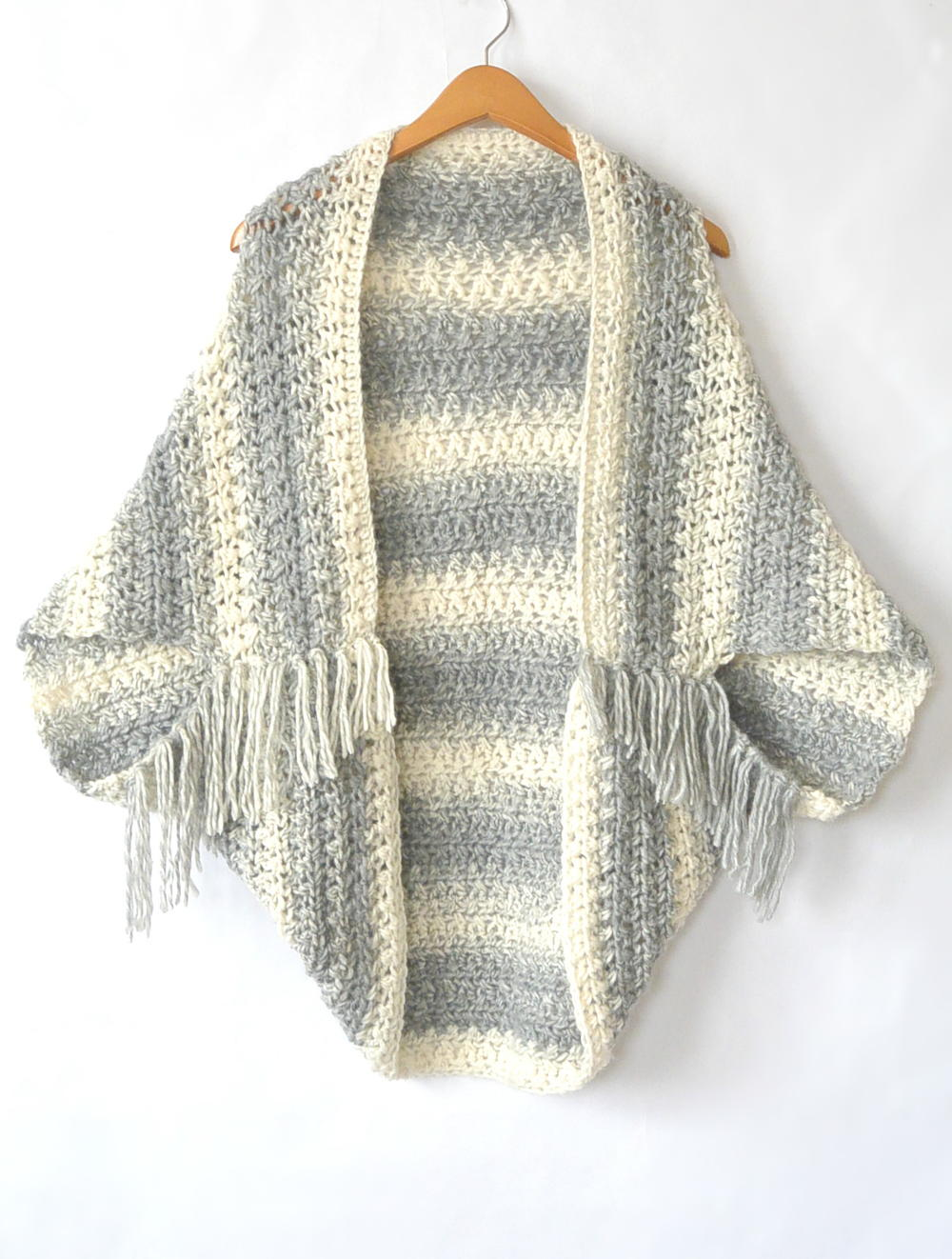 2a6aca2974 Easy Light Frost Crochet Blanket Sweater Shrug
