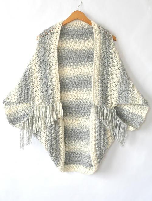Easy Light Frost Crochet Blanket Sweater Shrug ...
