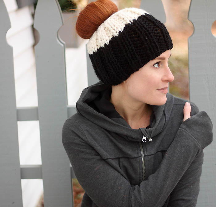 Messy Bun Hat Knitting Pattern Allfreeknitting Com