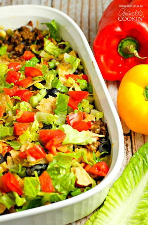 Lightened-Up Taco Crescent Casserole | FaveHealthyRecipes.com