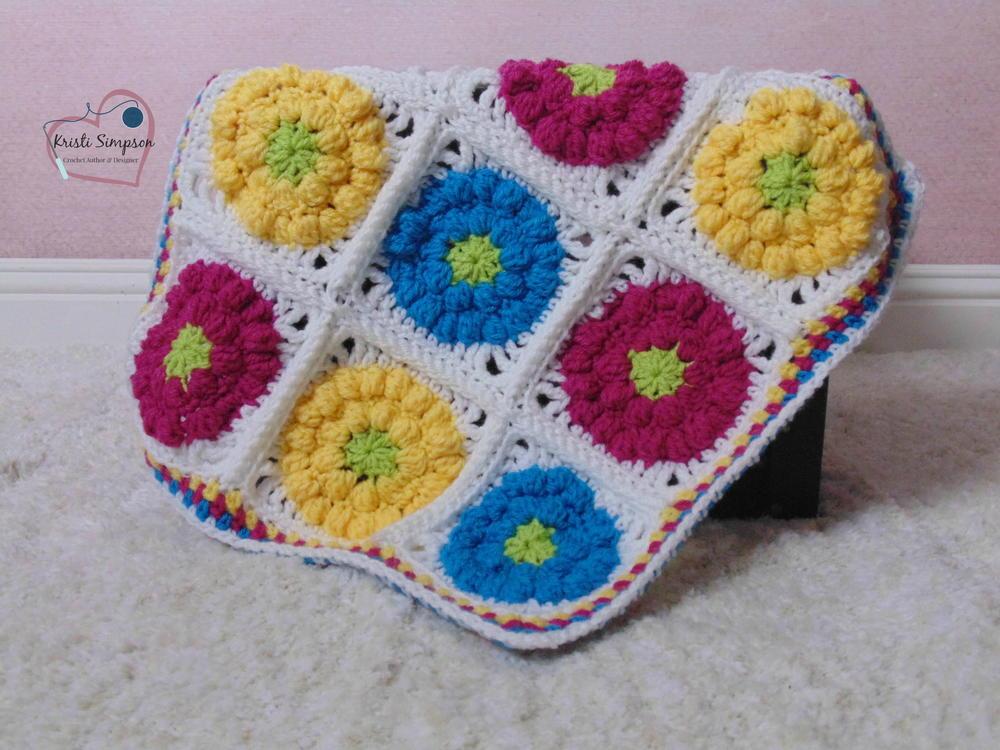 Flower Bobble Stitch Crochet Blanket AllFreeCrochet.com