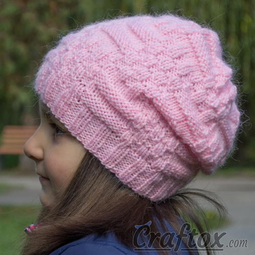 Knitting Pattern For Basic Beanie : Basic Knit Slouchy Beanie AllFreeKnitting.com