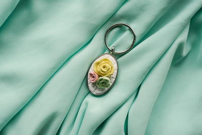 Blooming Vintage Rose Clay Keychain
