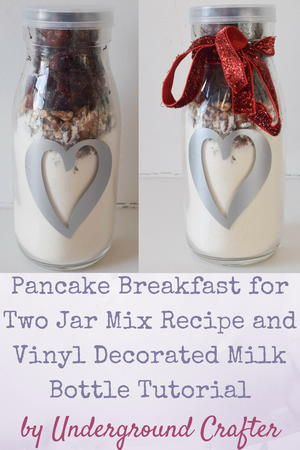 Pancake Breakfast Mix Recipe with Vinyl Decorated Milk Bottle
