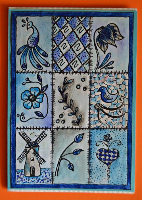 Allfreepapercrafts Com: Delft Inspired Handmade Card