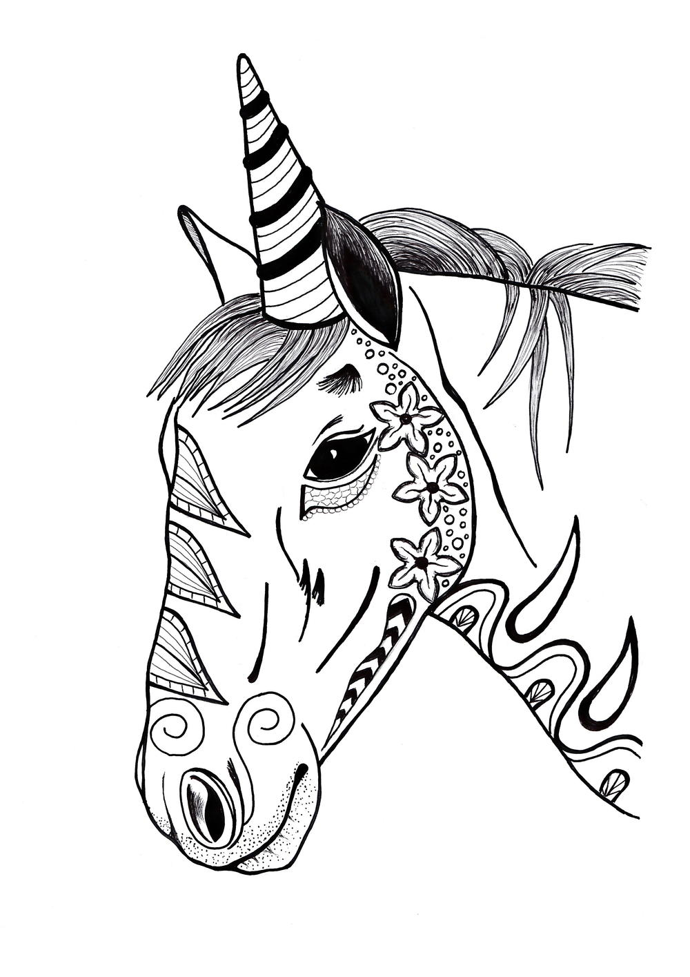 Colorful unicorn adult coloring page for Adult color pages