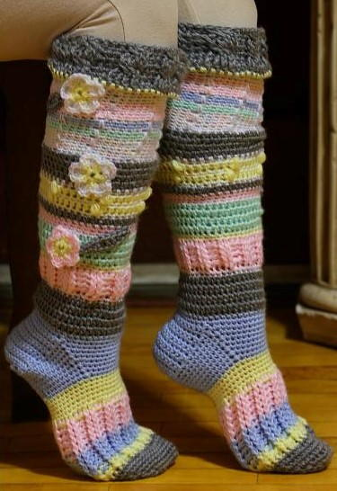 Colorful Knee High Socks Allfreecrochetcom