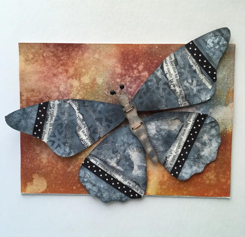 Mixed Media Butterfly Homemade Greeting Card