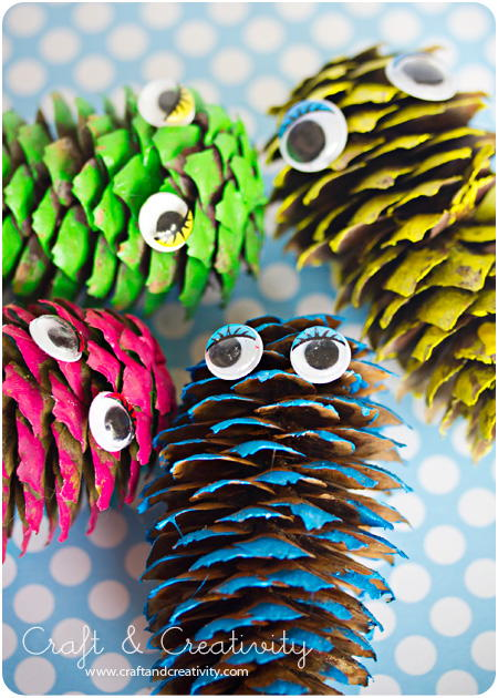 Pine Cone Monster Craft Allfreeholidaycrafts Com