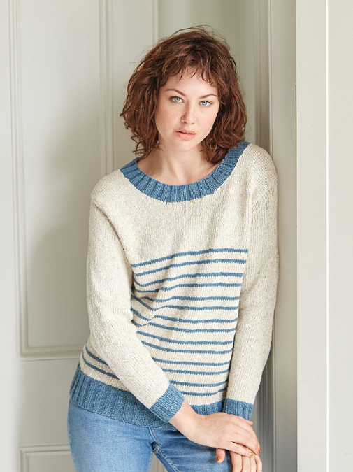 Knitting Pattern Striped Sweater : Riviera Striped Sweater AllFreeKnitting.com