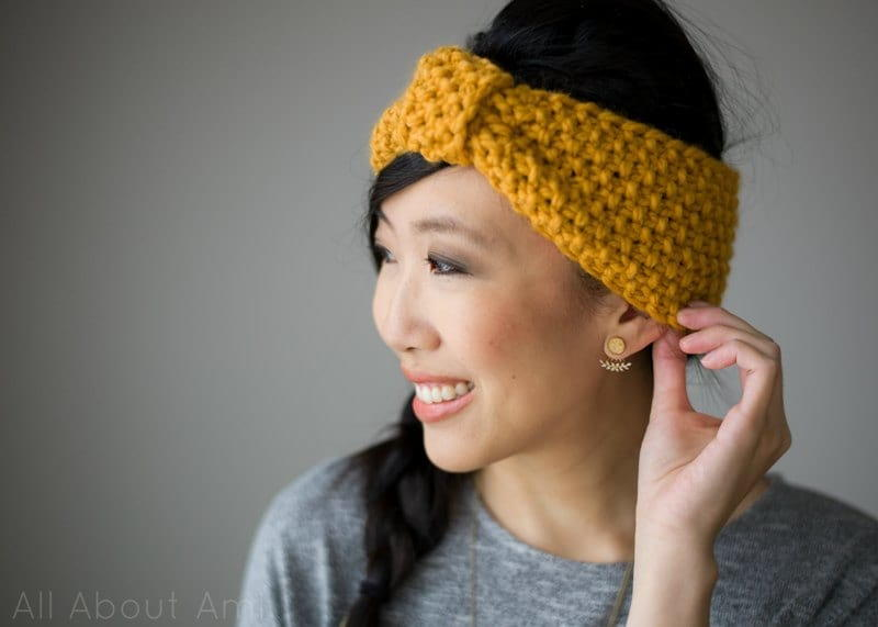 Marigold Seed Stitch Headband Allfreeknitting Com