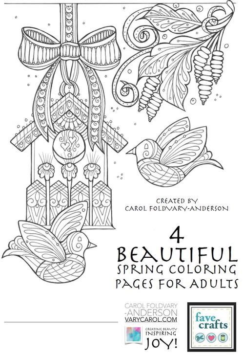 4 Beautiful Spring Coloring Pages for Adults