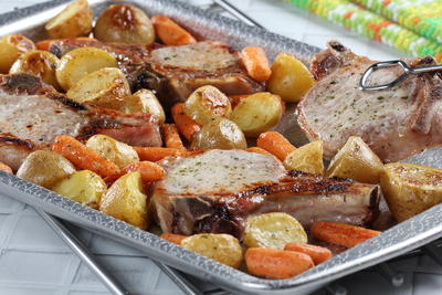 Pork Chops Sheet Pan Dinner