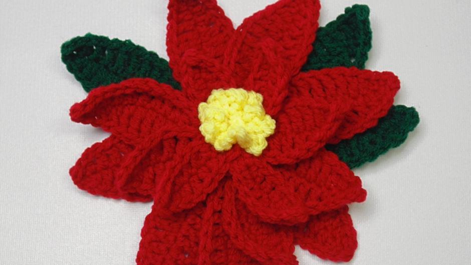 Crochet Poinsettia Flower Pattern AllFreeCrochet.com