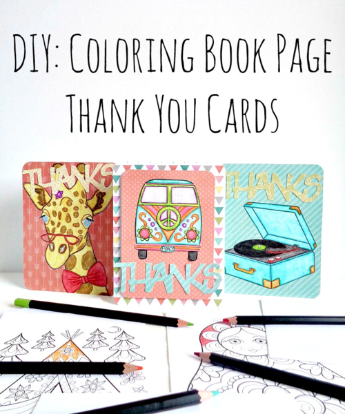 DIY Coloring Book Page Thank You Cards