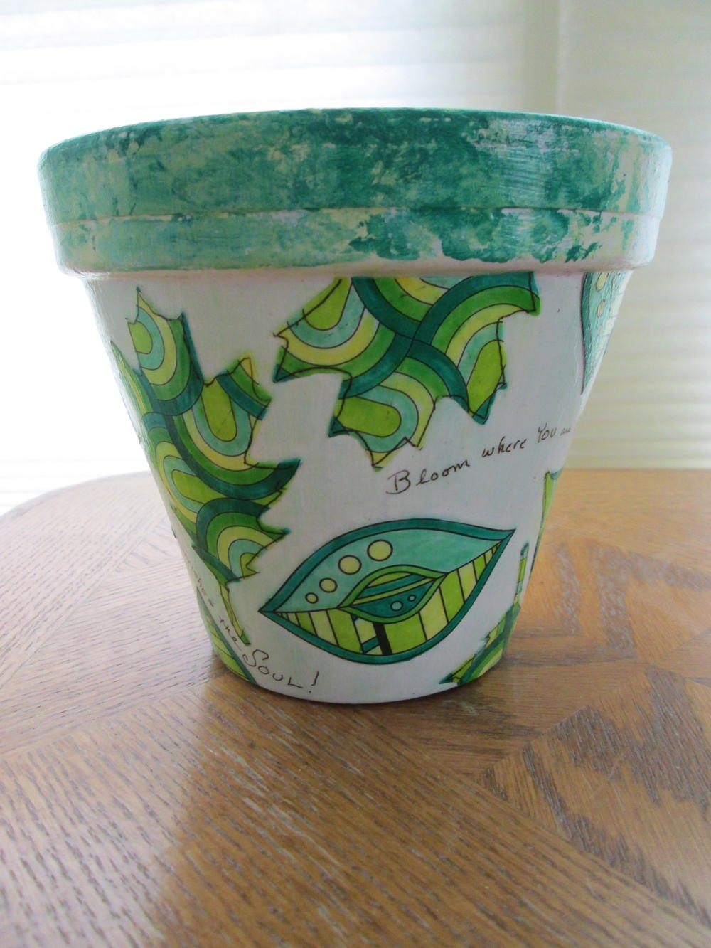 Bloom where you are planted decoupage flower pot for Big pot painting designs